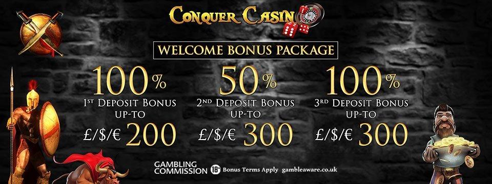 Conquer Casino: 100% to £/€/$ 100 Match Bonus + 10 Spins