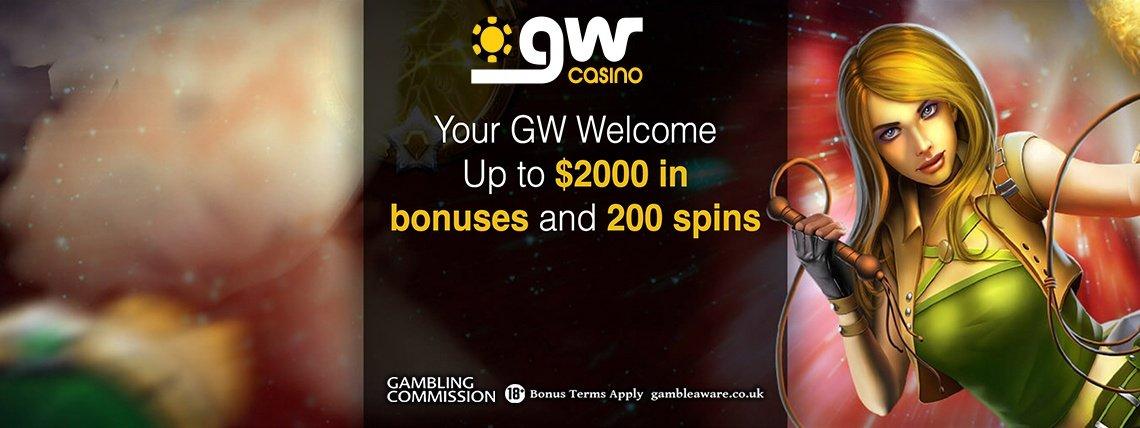GW Casino: $2000 Match Bonus + 200 Bonus Spins Package!