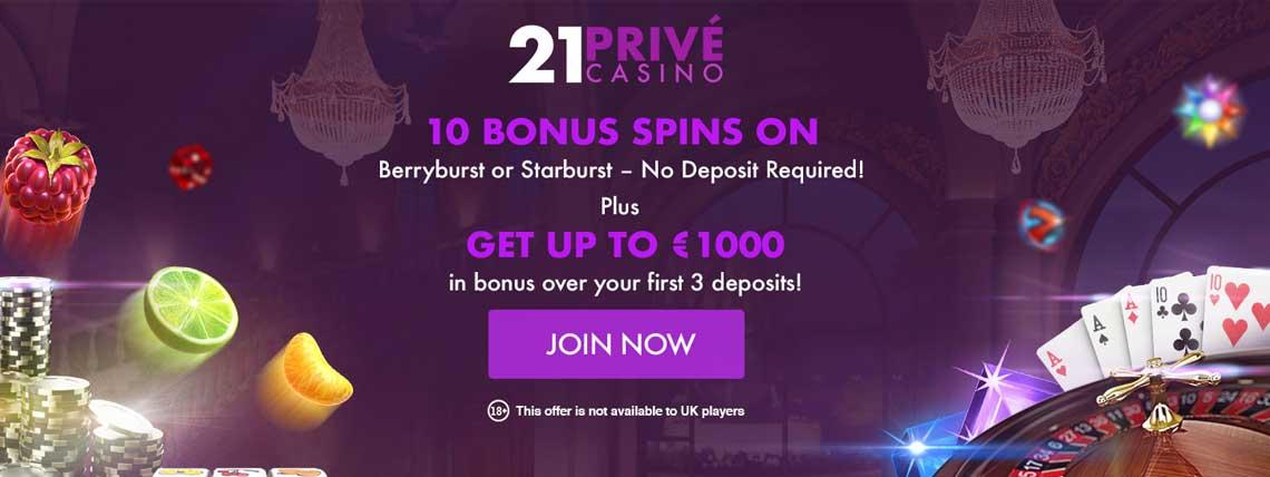 21prive no deposit bonus