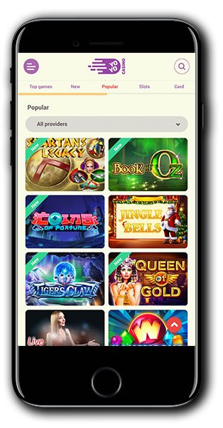 YoYo Casino mobile lobby