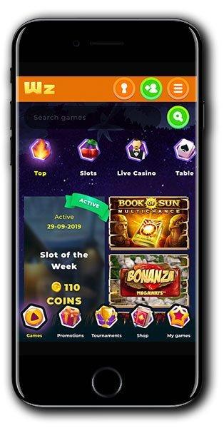 Wazamba Casino mobile lobby