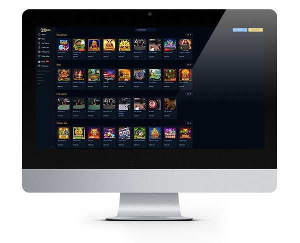 21Dukes Casino desktop lobby