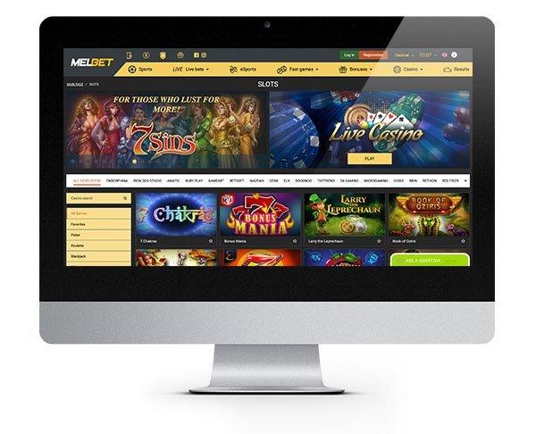 MELbet Casino desktop lobby