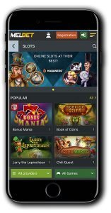 MELbet Casino mobile lobby