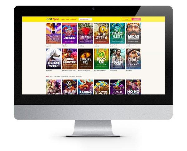 Just Spin Casino desktop lobby