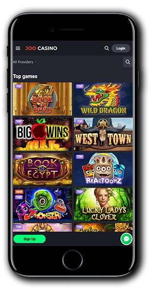 Joo Casino Mobile Homepage