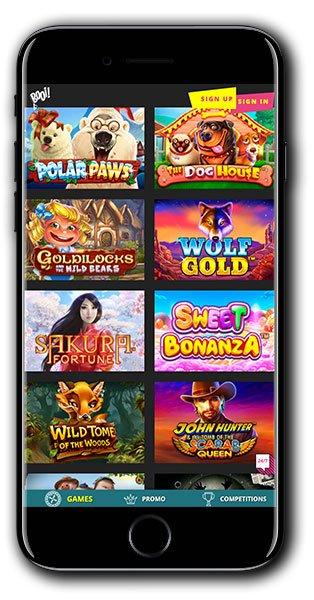 Booi Casino mobile lobby