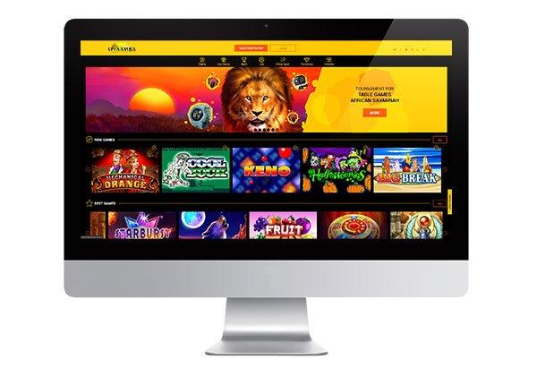 Spinamba Casino desktop lobby