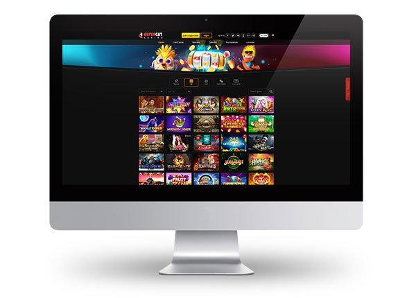 SuperCat Casino Desktop Lobby Dark Mode