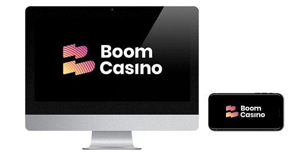 Boom Casino logo on desktop and mobile