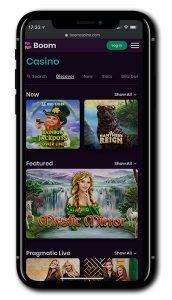 Boom Casino mobile casino games
