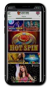 Lucky Bird Casino mobile lobby
