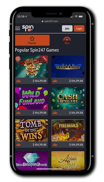 Spin247 Casino mobile gaming