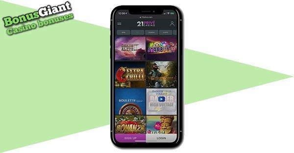 21Prive Casino on mobile