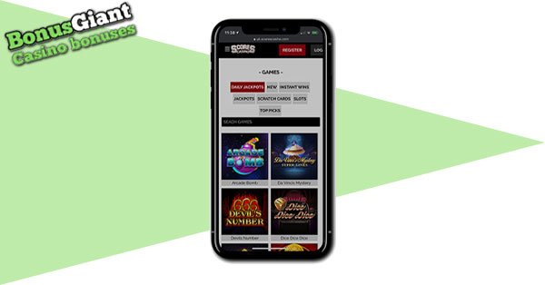 Scores Casino Mobile lobby